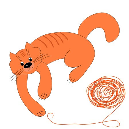 Happy red cat and a ball of wool Vector