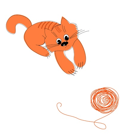 cat fish: Happy red cat and a ball of wool