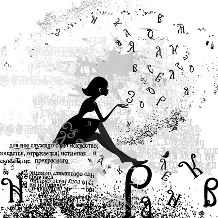 abstract design with a girl grunge text Vector