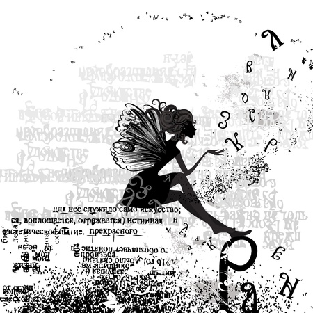 fairy silhouette: abstract design with a girl grunge text Illustration