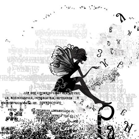 grunge wings: disegno astratto con un testo grunge ragazza