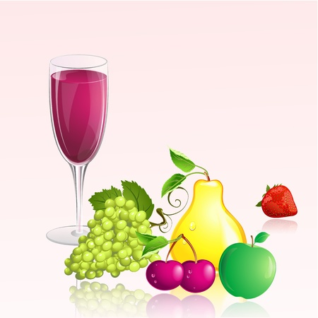 glass of wine with fruit Vector