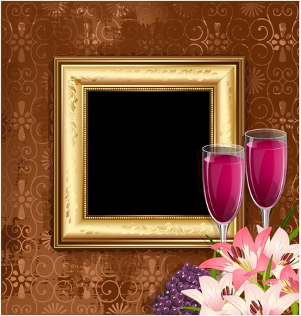 glass of wine with fruit and flowers on the background of a golden frame Vector