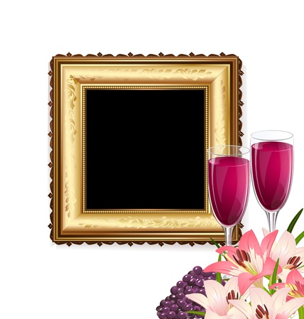 full frame: glass of wine with fruit and flowers on the background of a golden frame Illustration