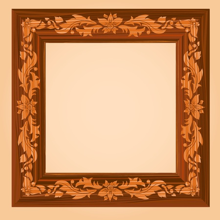 wood carving: Retro Wooden Frame