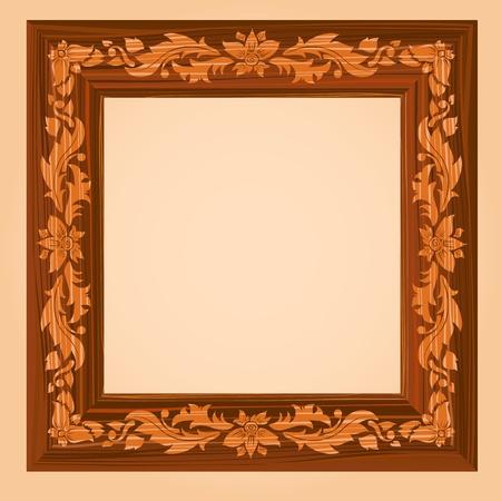 Retro Wooden Frame Vector