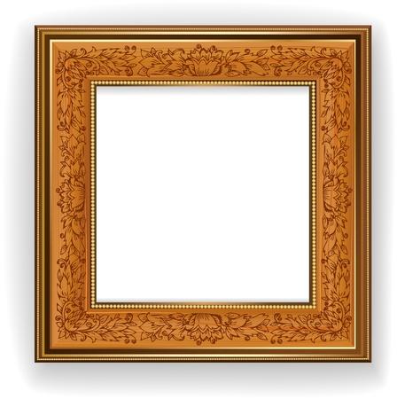 objetos cuadrados: Marco de madera con diseño de hojas Vectores