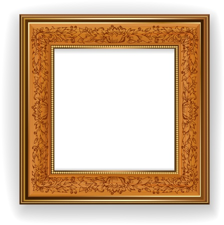 old picture: Wooden frame with leaf pattern