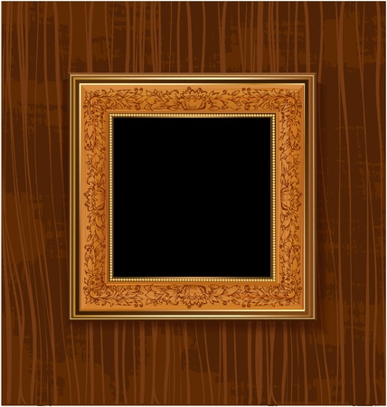 Wooden frame with leaf pattern Vector