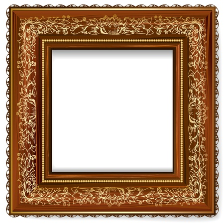 Wooden frame with a retro pattern with gold leaf Stock Vector - 13055881