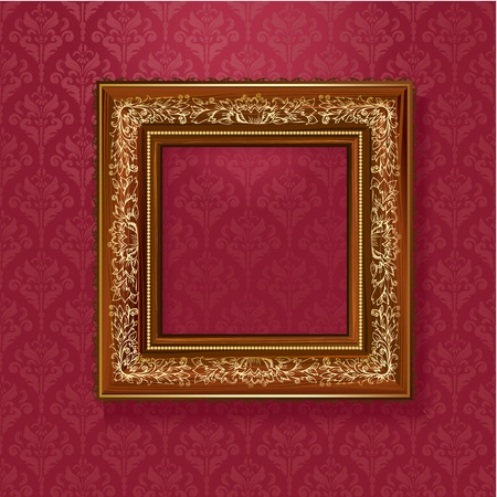 Wooden frame with a retro pattern with gold leaf Vector