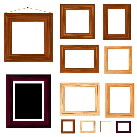 collection of vintage wooden frame Stock Vector - 13055880