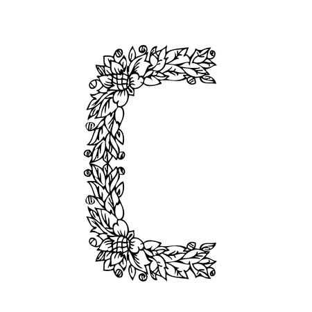 letter of foliage doodle Stock Vector - 13150866