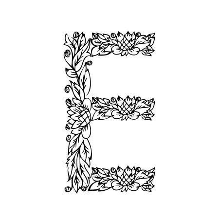 letter of foliage doodle Illustration