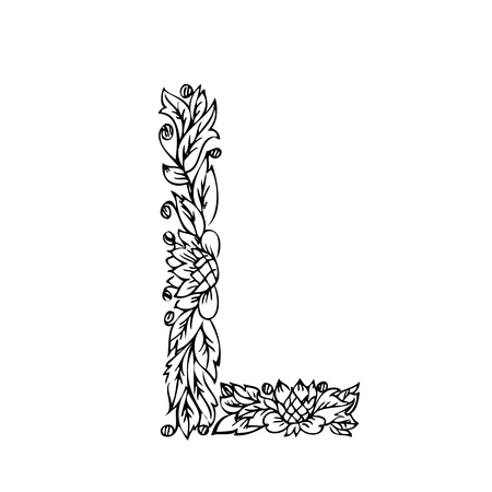 foliages: letter of foliage doodle Illustration