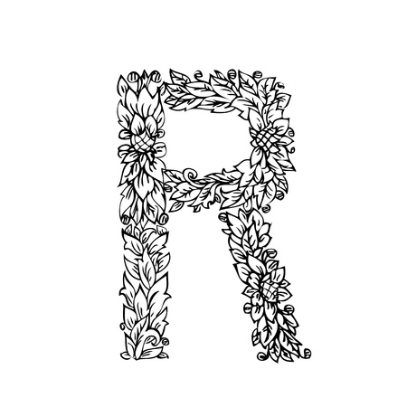 letter of foliage doodle Vector