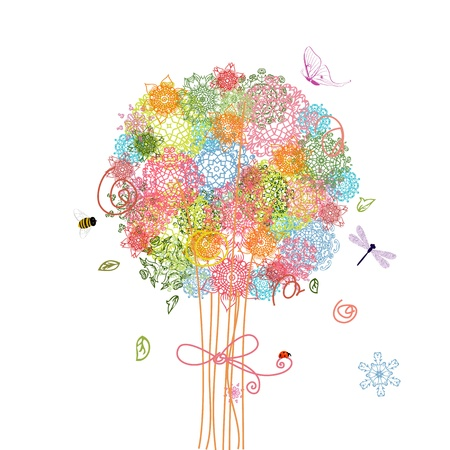 holiday tree bouquet arabesques Vector