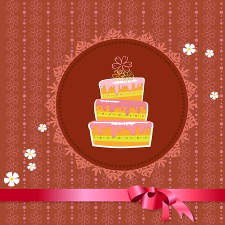 Celebratory cake on a vintage background Vector