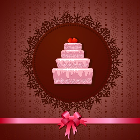 Celebratory cake on a vintage background Stock Vector - 13401754