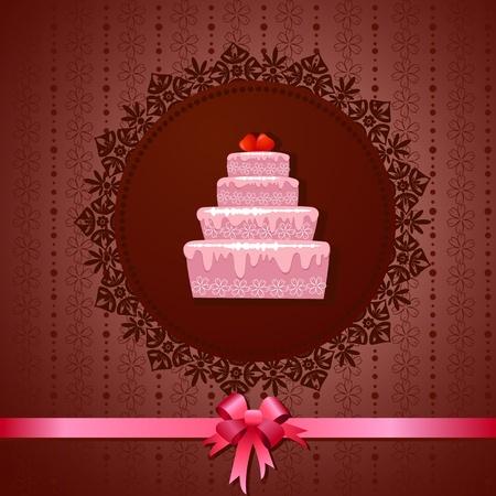 Celebratory cake on a vintage background Stock Vector - 13401754