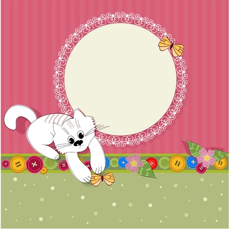 nice design frame with a kitten Vector