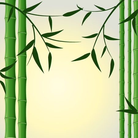 bamboo stalks with leaves Vector
