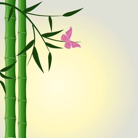 japanese garden: Bamboo design background with butterfly Illustration