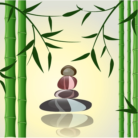 rock garden: design background bamboo with stones for a spa Illustration