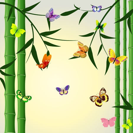 japanese garden: Oriental bamboo pattern with butterflies