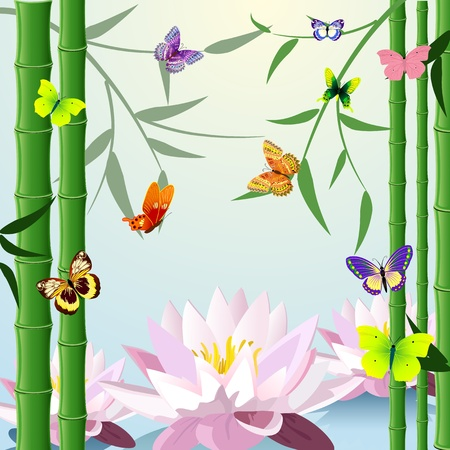 design with butterfly lotus bamboo Stock Vector - 13401775