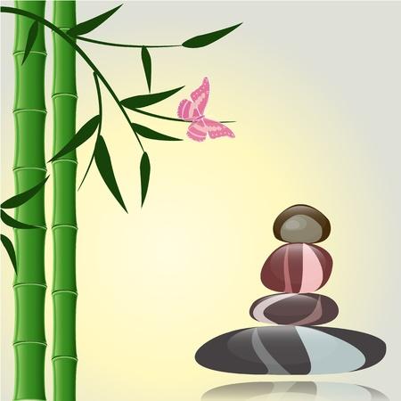 conception avec bambou propres pierres brillantes pour un spa Banque d'images - 13401772