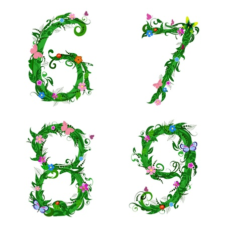 fly cartoon: font numbers foliage insect Illustration