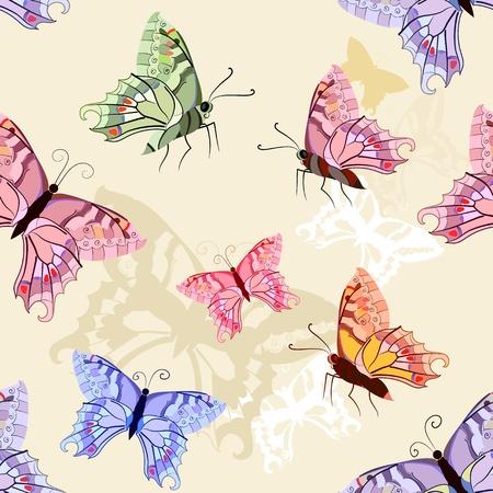 pink butterfly: Butterflies seamless background