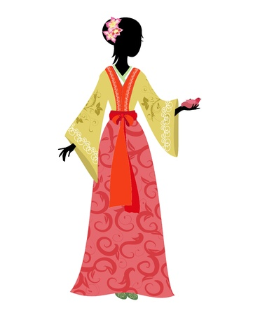 Chinese woman in traditional costume with a bird Vector