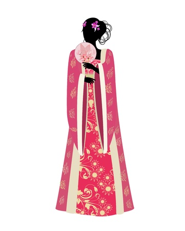 chinese dress: Chinese woman with a fan in traditional costume Illustration