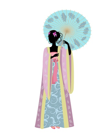 Chinese woman with an umbrella in traditional costume Vector
