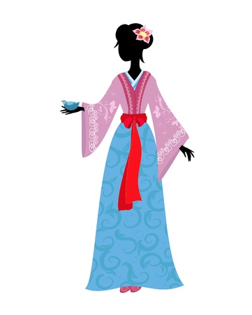 national costume: Chinese woman in traditional costume with a bird