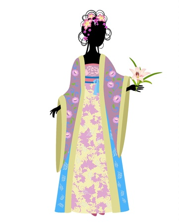 chinese dress: Chinese woman in traditional dress with lily