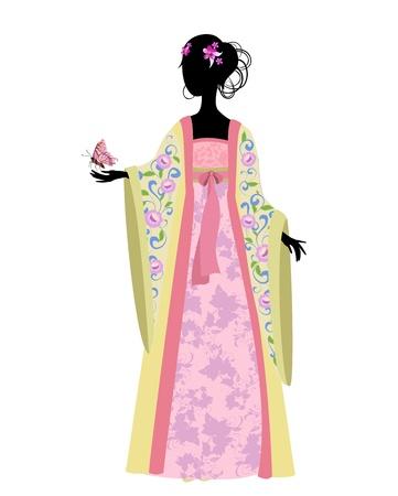 Chinese vrouw met een vlinder in traditionele klederdracht