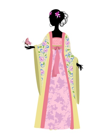 Chinese woman with a butterfly in traditional costume Vector