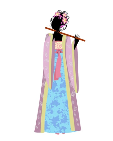 chinese dress: Chinese girl with a flute in traditional costume Illustration