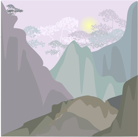 Mountain landscape in the morning Stock Vector - 13509769