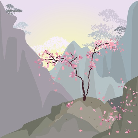 morning sunrise: Mountain landscape in the morning with cherries Illustration