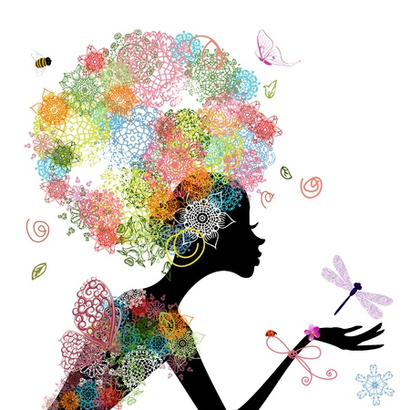 Fashion girl with hair arabesque Vector