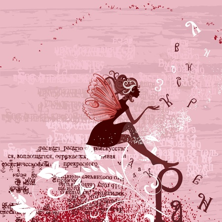 Fairy on the grunge background with letters Illustration