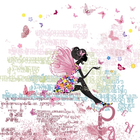 Fairy on the grunge background with letters Stock Vector - 13572556