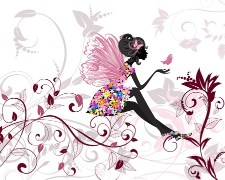 fairy silhouette: Flower Fairy with butterflies