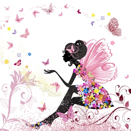 Flower Fairy in the environment of butterflies Vector