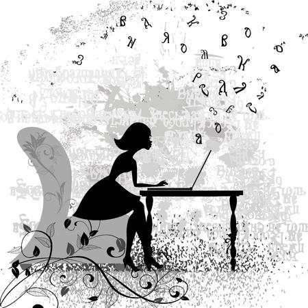 computadora caricatura: Chica en la computadora