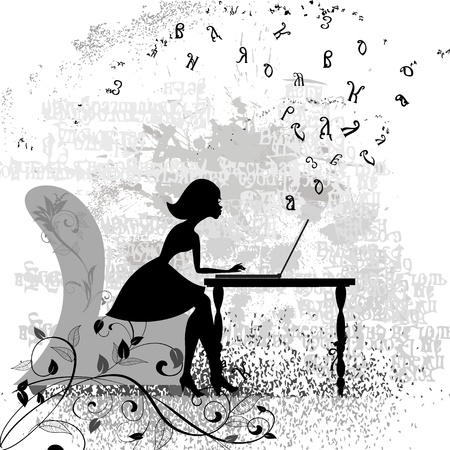 Girl at the computer Vector